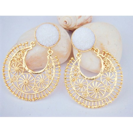 Sophisticate White Gold Filigree Earrings